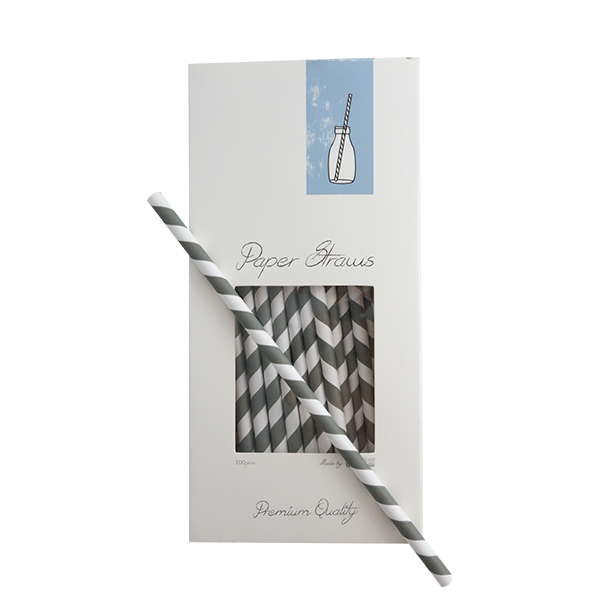 Trinkhalme Papier Grau-Weiß gestreift