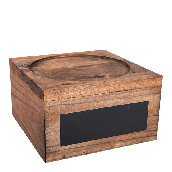 Holzständer für Getränkespender mit Kreidetafel 18cm