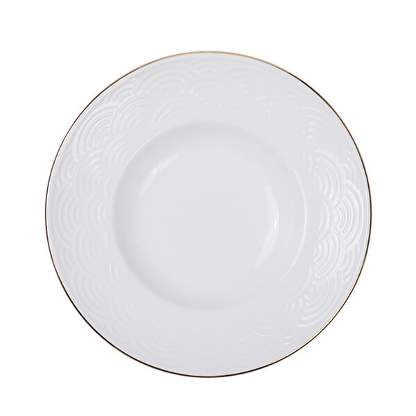 Nippon White Gold Rim Deep Plate 25.8cm 300ml Wave