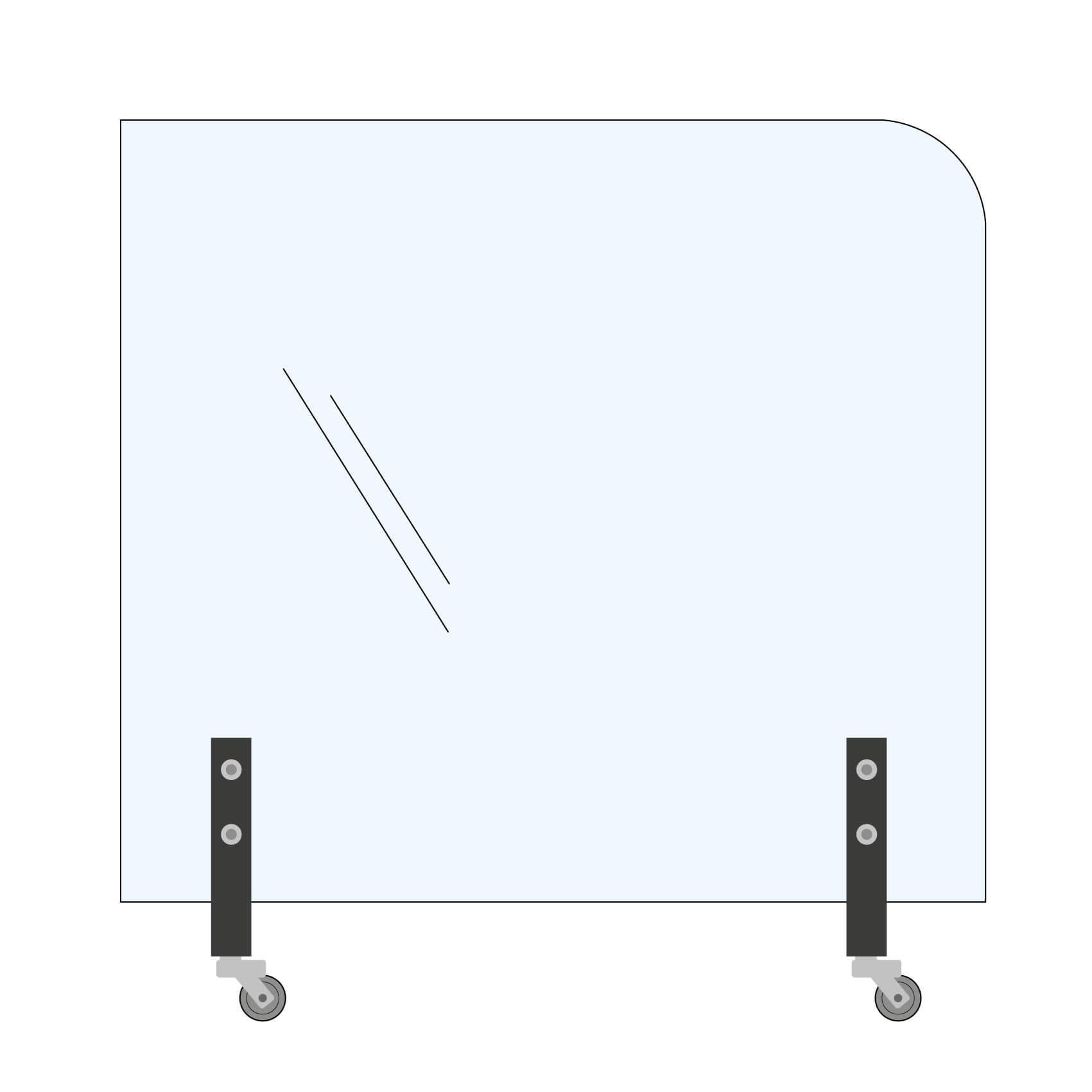 Trennwand 1xRundecke 160x145cm