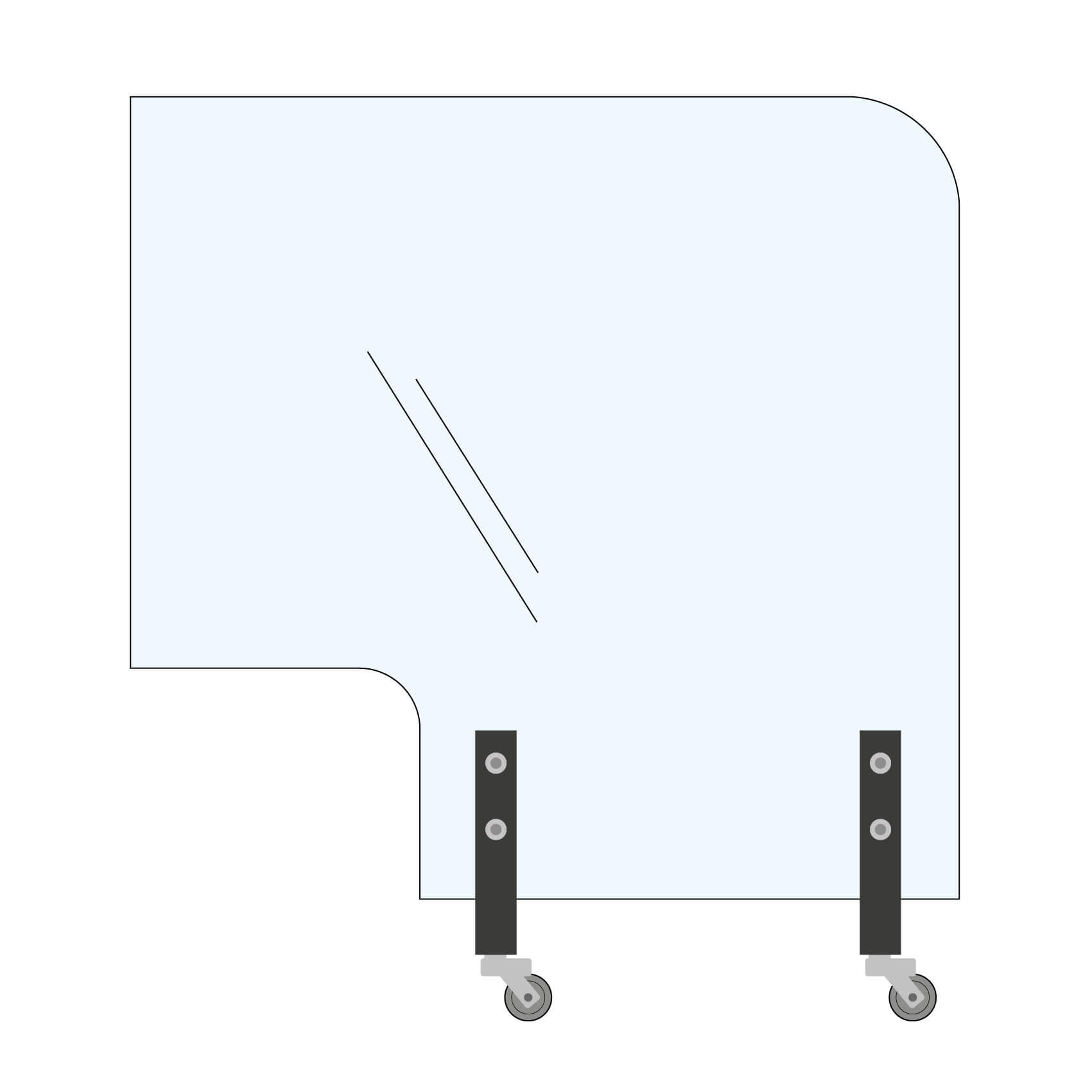Trennwand Rundecke+Ausschnitt 150x145cm