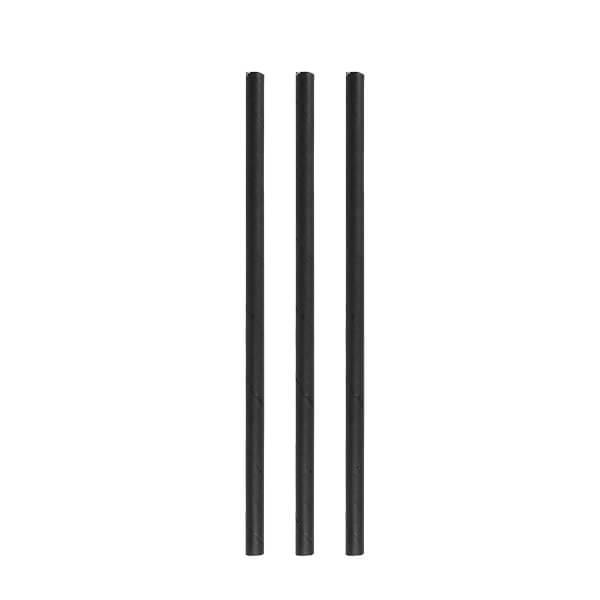 Papier Trinkhalme schwarz 8x230mm