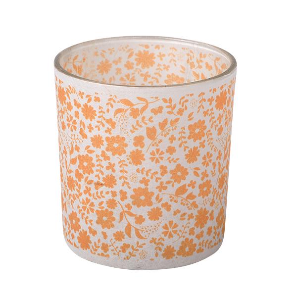 Glass Candle Holder, Blumen/orange 7,3 x 8cm