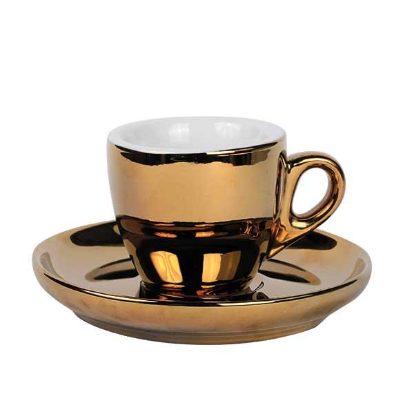 Espresso Tasse mit Untertasse Gold 55ml