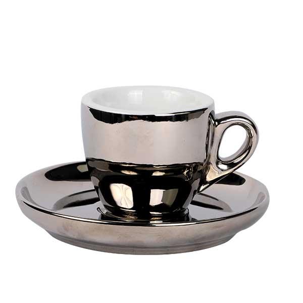 Espresso Tasse mit Untertasse Chrom 55ml