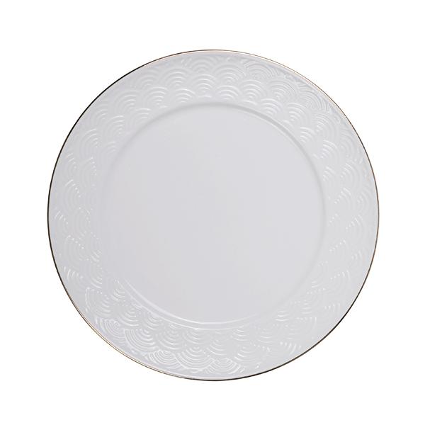 Nippon White Gold Rim Plate 23cm Wave