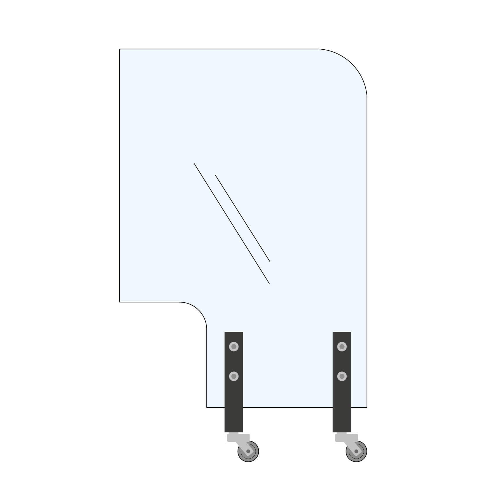 Trennwand Rundecke+Ausschnitt 100x145cm