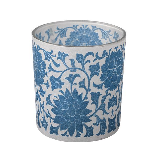 Glass Candle Holder, Blumen/blau 7,3 x 8cm