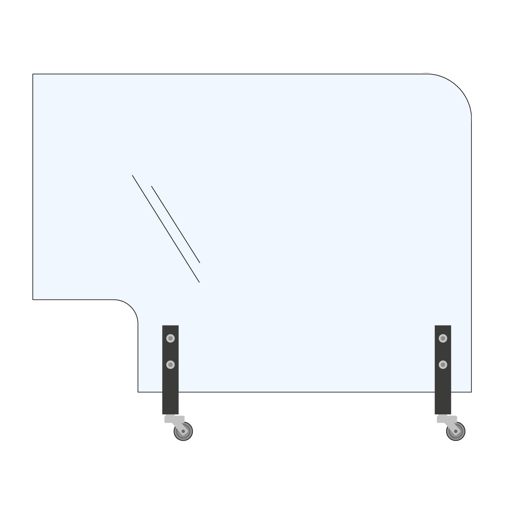 Trennwand Rundecke+Ausschnitt 200x145cm