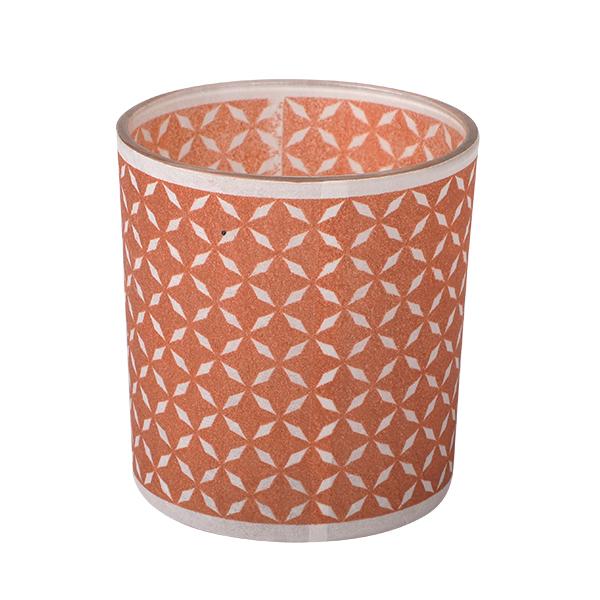 Glass Candle Holder, rot/braun 7,3 x 8cm