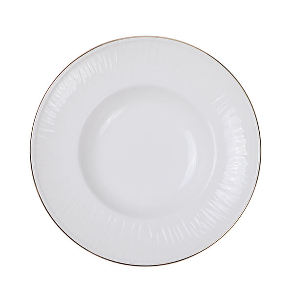 Nippon White Gold Rim Deep Plate 21cm 160ml Lines 3/36