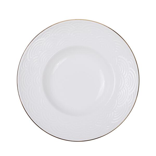 Nippon White Gold Rim Deep Plate 21cm 160ml Wave