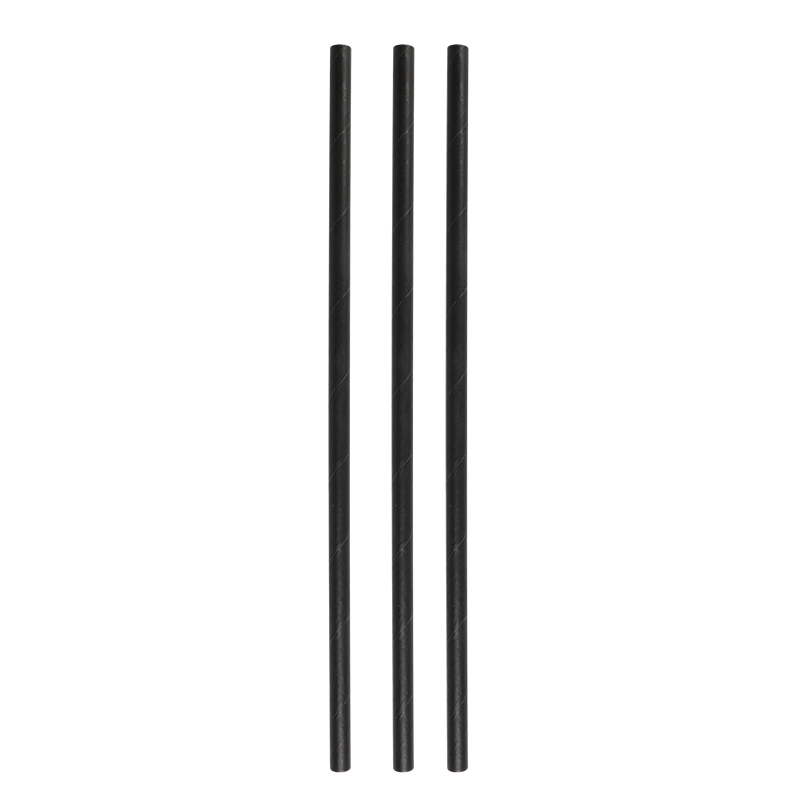 Papier Trinkhalme Schwarz 6x200mm