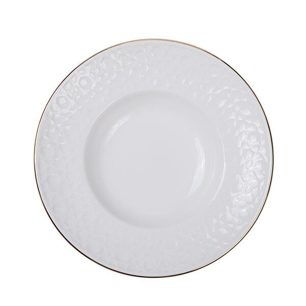 Nippon White Gold Rim Deep Plate 30cm 500ml Stripe