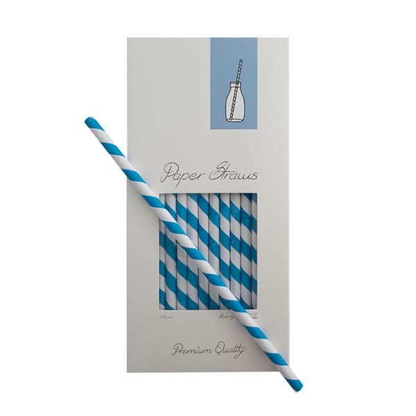 Trinkhalme Papier Blau-Weiß gestreift