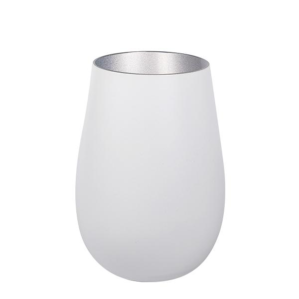 Becher Glas matt Weiss/Silver 465 ml