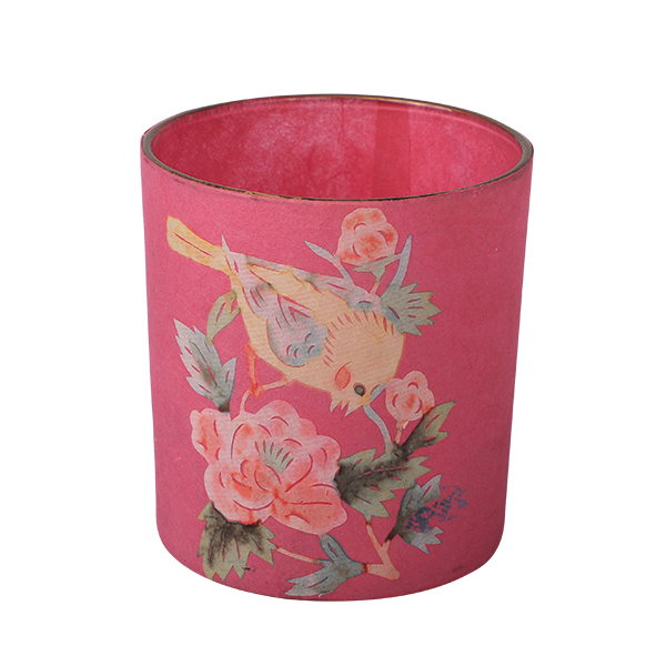 Glass Candle Holder, pink 7,3 x 8cm