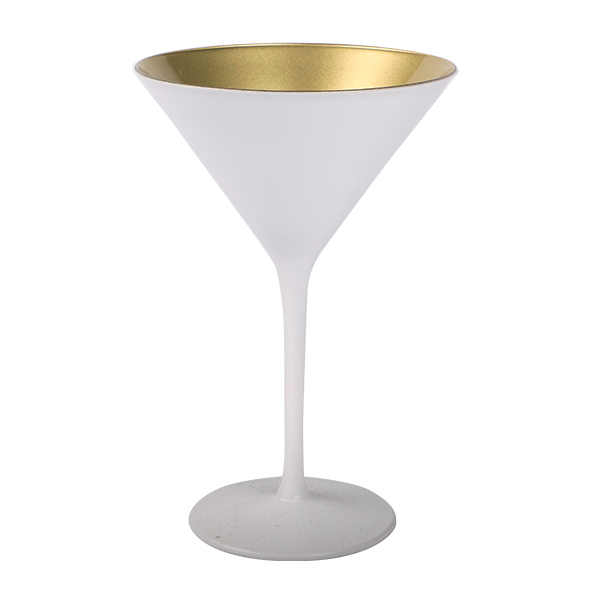 Cocktailschale Glas matt Weiss/Gold 240ml