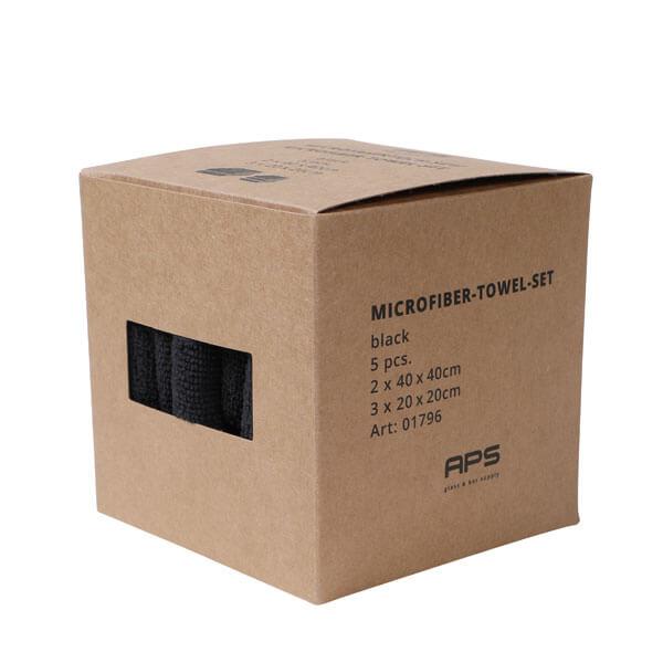 5-tlg. Mikrofasertuch-Set, antibakteriell, schwarz