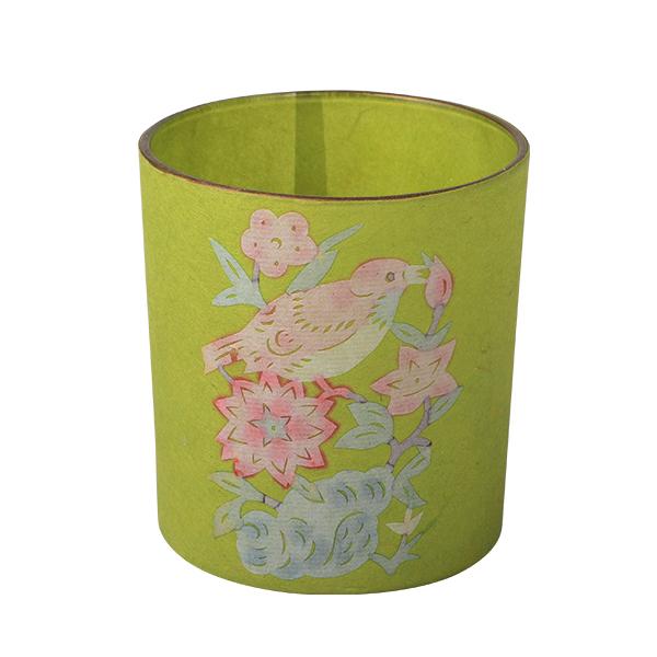 Glass Candle Holder, grün 7,3 x 8cm