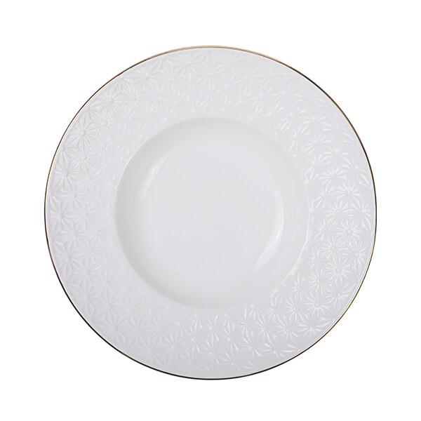 Nippon White Gold Rim Deep Plate 21cm 160ml Star