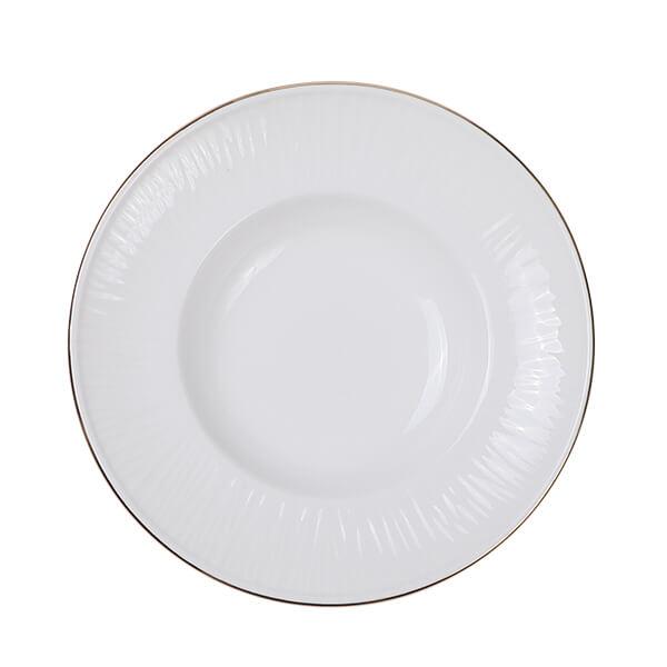 Nippon White Gold Rim Deep Plate 25.8cm 300ml Lines 3/24