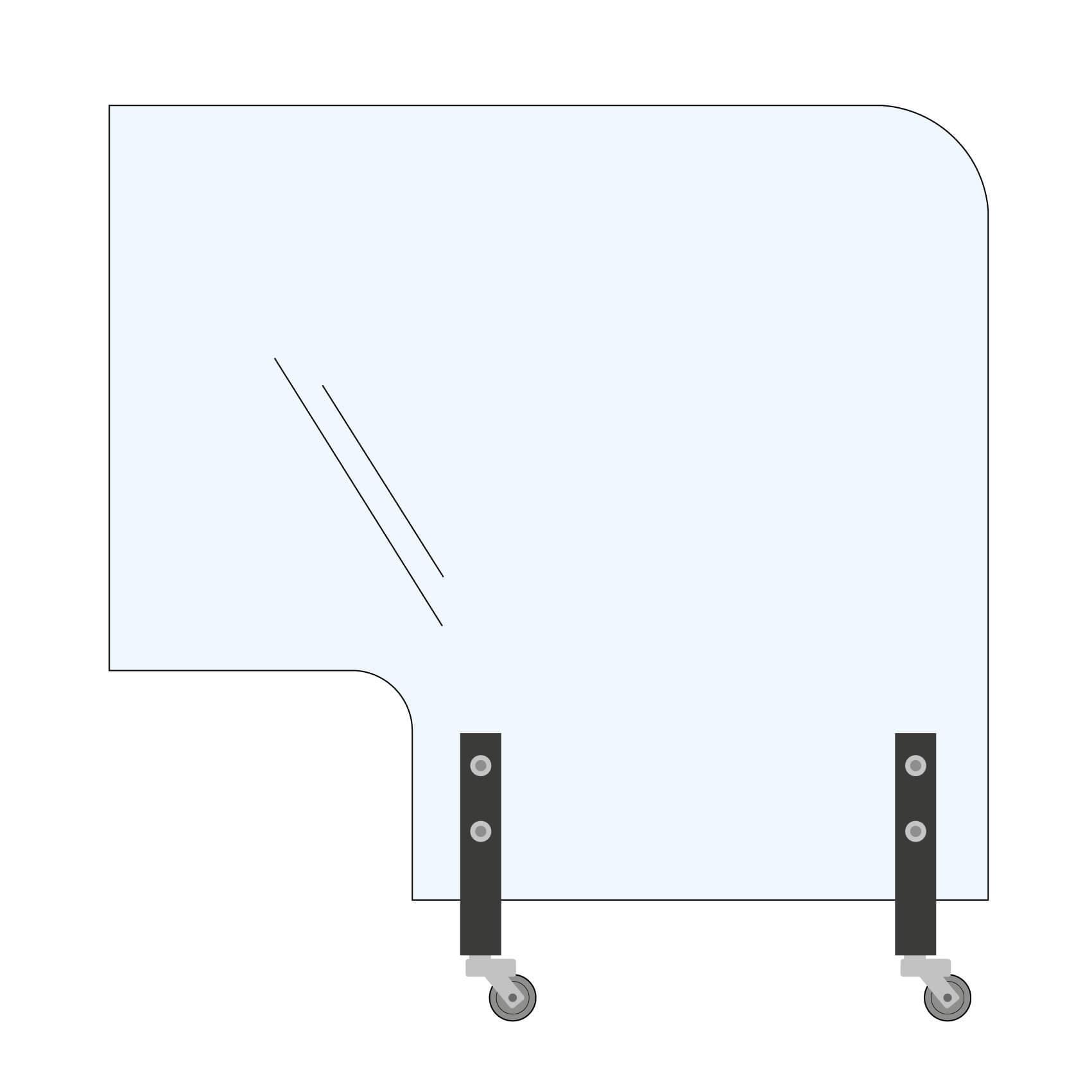 Trennwand Rundecke+Ausschnitt 160x145cm